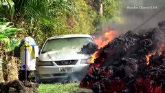 Thumbnail of Ford Mustang eaten by lava in Hawaii