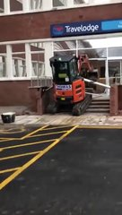 Thumbnail of Unpaid contractor destroys hotel reception with digger