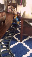Thumbnail of Baby runs out of steam on brothers toy train
